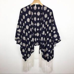 Sage boho Kimono navy blue with fringe M
